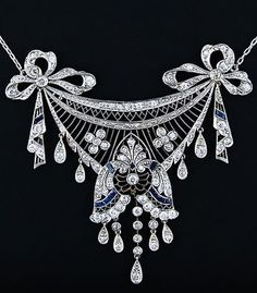 Edwardian platinum, diamond, and sapphire necklace