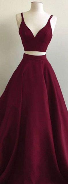 Simple two pieces burgundy long prom dress, burgundy evening dress