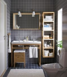 IKEA bathroom: gray, white  wood by erika