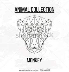 Monkey head geometric lines silhouette isolated on white background vintage vector design element illustration