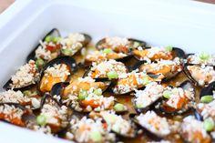 Gegratineerde mosselen met oestersaus en chili