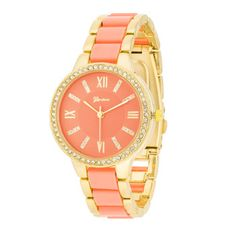 Coral Gold Crystal Watch