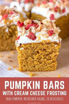 These sweet Pumpkin Bars with tangy cream cheese frosting are just so delicious. Perfect treat made with simple pantry ingredients and REAL PUMPKIN.   It's guilt-free, made without refined sugars. -------- #pumpkin #pumpkinbars #fall #dessert #thanksgiving #healthy #healthydessert #easy #recipe #pumpkinspice
