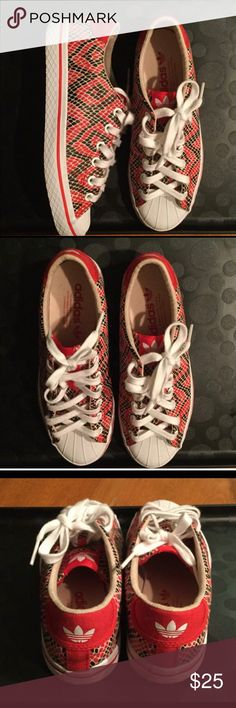 👟NWOT ADIDAS sneakers👟 Big girls (ladies) size 5. Red and black diamond design sneakers never worn. Part of the Selena Gomez design series for Adidas. Smoke free home. Adidas Shoes Sneakers
