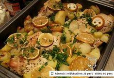 Görög citromos csirke | NOSALTY – receptek képekkel Meat Recipes, Healthy Recipes, Hungarian Recipes, Hungarian Food, Poultry, Potato Salad, Tapas, Turkey, Food And Drink