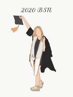 Graduation Photos, Custom Grad Photo, Custom Illustration One Person, Personalized Gift Graduation Cartoon, Graduation Photos, Graduation Ideas, Illustration Girl, Digital Illustration, Vespa Retro, Glitch Wallpaper, Disney Princess Drawings, Digital Art Girl