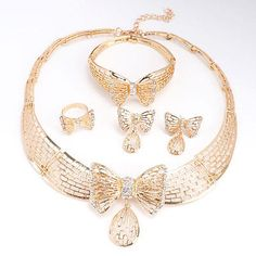 African Costume Gold Plated Jewelry Set Fashion Dubai Rhinestone Bow Necklace