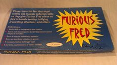Furious Fred Anger Management Board Game Complete Educational Anti Bullying 1999 | Can't Resist Vintage
