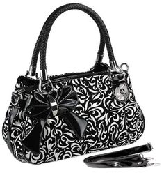 MG Collection TWEED Black & White Floral Design Purse w/Bow Accent - #Handbags