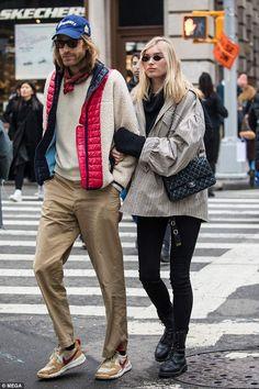 Model couple: Elsa Hosk, 29, and her boyfriend Tom Day, 30, where snapped strutting throug...