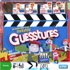 """Guesstures Game: Get ready for hilarious, high-speed charades with Guesstures. Pop four cards into the Action Timer, then set it and start acting fast! The words may look easy, but you only have a few seconds to get your team to guess each one. If your team guesses correctly you still have to grab the card out of the slot before it gets """"munched"""" by the Action Timer!  $39.99  http://calendars.com/Party-Games/Guesstures-Game/prod201100006313/?categoryId=cat490026=cat490026#"""