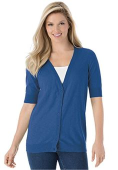 a713131e466 Womens Plus Size Cool Cotton Cardigan Sweater Royal Navy2X   You can find  out more details