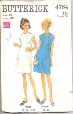 Vintage 1960's Womens Dress Pattern, Simplicity 4784 Sewing Pattern, Size 16