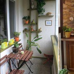Small balcony ideas. Love the wall thing.