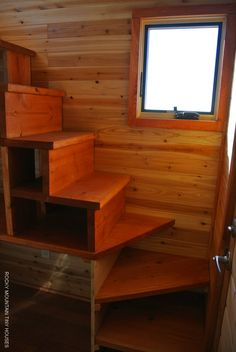 I think we need more storage in the stairs but i love the design of these, if we had to any other stairs it would be these - Rio Grande Gooseneck Tiny House stairs