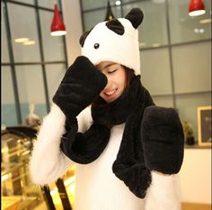 Lovely panda plush hat scarf and gloves all in one for girls