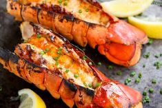Grilled Lobster Tails With Sriracha Butter With Lobster Tails, Land O Lakes® Butter, Sriracha, Chopped Fresh Chives, Lemon Wedges
