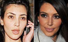 O make preferido de Kim Kardashian é o olho poderoso, com cílios postiços e muita máscara. Ela dá um ponto de luz no olhar - que, de quebra, ajuda a disfarçar as olheiras - aplicando sombra iluminadora no canto interno do olho.   Celebridades com e sem make - Beleza - CAPRICHO
