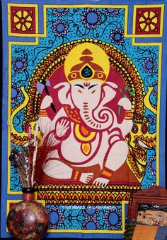 Indian Lord Ganesha Wall hanging Tapestry  Hippie by Labhanshi, $20.99