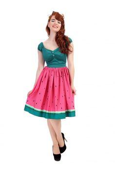 Collectif Mainline Jasmine Watermelon Swing Skirt - Collectif Mainline from Collectif UK