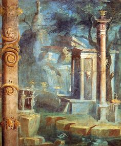 Landscape with temple.    Roman fresco from the temple of Isis in Pompeii.    Museo Archeologico Nazionale (Naples)