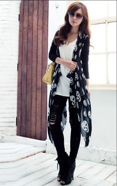 Skull Scarf Collar Long Sleeves Cardigan