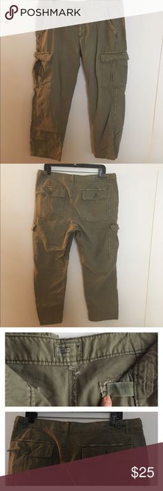 New W/out Tags American Eagle:Cargo Pants-12 Army Green cargo pants, Slouchy Skinny fit, zipper closure with button at top, at the waist on the back of pants there are two buttons on either side of the pants that allow you to adjust the waist in or out a little, there are six pockets: two front pockets, two back pockets with button closure, & two side pockets with button closure. On the right side pocket there's a cute dark floral tie that's tied in a bow. Would look great with Birkenstocks…