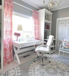 Love this color scheme for my office - but more of a coral color for the curtains and maybe accents of navy?
