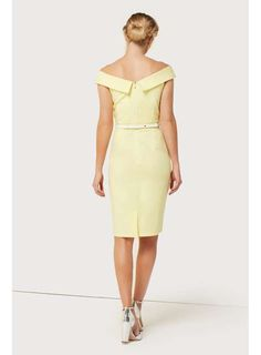 **Paper Dolls Lemon Bardot Belted Dress - Midi Dresses - Dresses - Dorothy Perkins