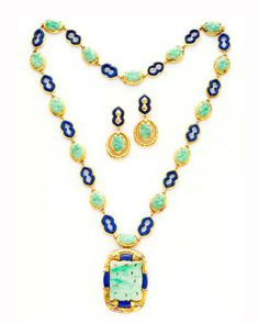 1973 estate carved jade and lapis earrings and necklace set by Van Cleef & Arpels