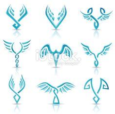 Aile, Ange, Aigle, Symbole, Tatouage Illustration vectorielle libre de droits