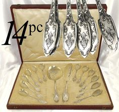 Truly a delightful late 19th century French sterling silver and gilt vermeil 14-piece ice cream or dessert service