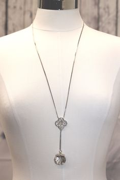 Long Necklace with Crystal Stone Dangle