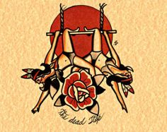Circus twins Traditional Tattoo flash Oldschool