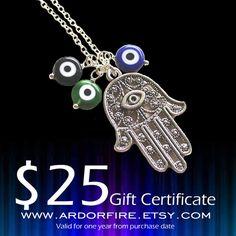 Gift certificate gift voucher 25 dollars Ardor Fire by ardorfire, $25.00