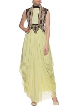 Buy Sage green, black & gold embellished draped dress by Ayesha Aejaz at Aza Fashions Drape Gowns, Draped Dress, New Dress, Dress Up, Simple Gowns, Saree Gown, Western Dresses, Ethnic Fashion, Draping
