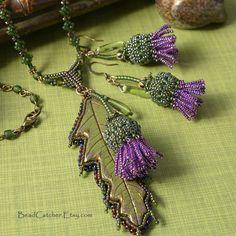 Scottish Thistle beadwoven jewelry set EBWC on Etsy, $93.86 AUD