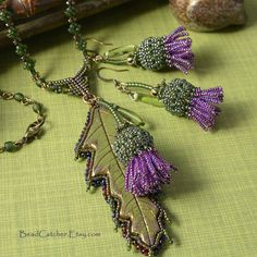 Scottish Thistle beadwoven jewelry set EBWC by BeadCatcher on Etsy, $75.00