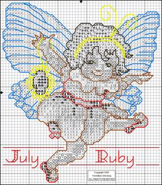 Toddler Birthstone Fairy July Ruby Cross Stitch Pattern 2/5