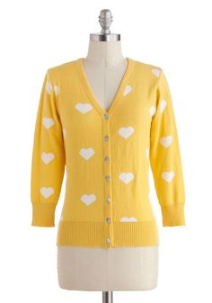 Warmhearted Welcome Cardigan in Yellow - Yellow, White, Novelty Print, Buttons, Casual, 3/4 Sleeve, Cotton, V Neck