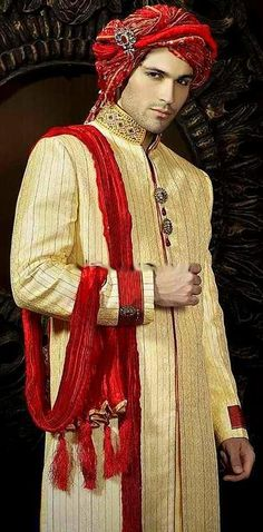 Groom wearing sherwani and turban Indian Man, Indian Groom, Bollywood Party, Bollywood Fashion, Larp, African Fashion, Indian Fashion, Sherwani, Arabian Nights