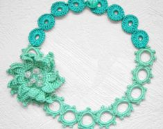 red circles crochet necklace by agatsknitting on Etsy