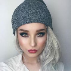 """""""Silver hair  too bad it's a wig  @rosymelina let me borrow it! She wanted me to sign a contract to make sure I give it back. Hehe  Lipstick