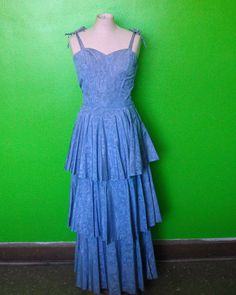 Periwinkle Blue Vintage 40s/WWII Swirl Taffeta Tiers Maxi Evening Gown