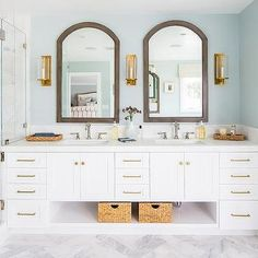 Arch Wood Mirrors with White Dual Washstand