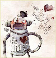 Robo-Doodle by *Iraville on deviantART Robot Illustration, Illustration Sketches, Watercolor Illustration, Illustrations Posters, Robot Tattoo, Cycle Drawing, Arte Robot, Little Monsters, Art Techniques