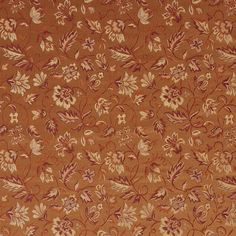 Coral Leaf Coral and Gold Floral Damask Upholstery Fabric