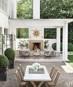 Outdoor Fireplace - Design photos, ideas and inspiration. Amazing gallery of interior design and decorating ideas of Outdoor Fireplace in decks/patios, pools by elite interior designers. Outdoor Areas, Outdoor Rooms, Outdoor Dining, Outdoor Decor, Outdoor Furniture, Outdoor Seating, Outdoor Kitchens, Outdoor Patios, Outdoor Living Spaces