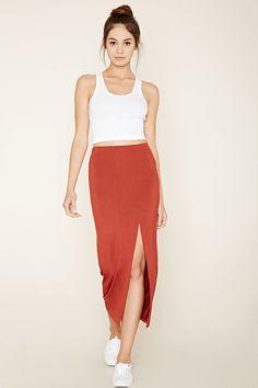 A knit midi skirt with a high-slit side and an elasticized waist.
