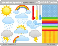 Weather Symbols   Digital Clip Art  Personal and by printcandee